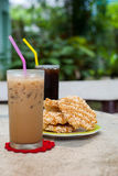 Ice coffee and americano with Rice Cracker (Khao Tan) Stock Photo