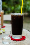 Ice coffee americano with syrup on table. Royalty Free Stock Photography