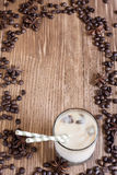 Ice coffee background. Ice coffee with spices in a glass. Copy space background Stock Photo