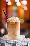 Ice coffee on bar desk Royalty Free Stock Photos