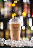 Ice coffee on bar desk Stock Photos