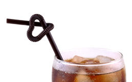 Ice coffee with black straws love on white background Royalty Free Stock Image