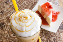 Ice coffee blend with crape cake. Royalty Free Stock Image