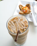 Ice coffee and bread Royalty Free Stock Images