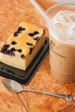 Ice coffee and cake Royalty Free Stock Image