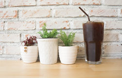 Ice coffee. Cold black coffee on the table in a coffee shop Royalty Free Stock Photos