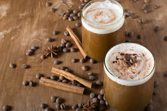 Ice coffee. With cream and cinnamon Stock Image
