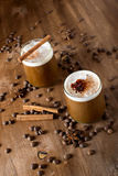 Ice coffee. With cream and cinnamon Stock Photo