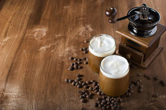 Ice coffee. With cream in glass Royalty Free Stock Photo