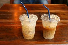 Ice coffee on the deck Royalty Free Stock Photo