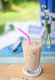 Ice coffee on grunge wood table Royalty Free Stock Image