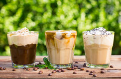 Ice coffee. With milk and whipped cream Stock Photos