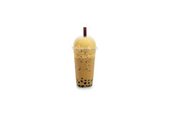 Ice coffee in plastic glass with bubble. Isolate background Stock Images