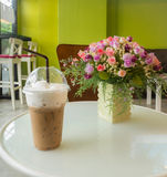 Ice coffee and rose flowers Royalty Free Stock Photos