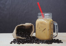 Ice coffee smoothie with roasted coffee, Still life tone Royalty Free Stock Images