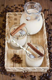 Ice coffee. With spices in jug and glasses. Selective focus Royalty Free Stock Photos