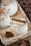 Ice coffee. With spices in jug and glasses. Selective focus Royalty Free Stock Images