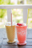 Ice coffee and Strawberry Smoothie Royalty Free Stock Photos