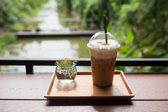Ice coffee with summer garden view. Ice coffee in plastic cup and small plant on wood plate with natural greenery view of pond and summer trees. Fresh drink with Stock Images