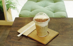 Ice coffee on the timber tray Stock Photo