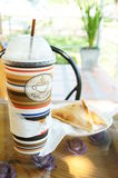 Ice coffee with toasts Royalty Free Stock Photos