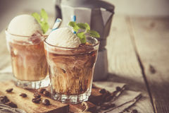 Ice coffee with vanilla ice cream Royalty Free Stock Photography
