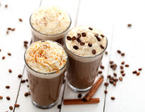 Ice coffee with whipped cream Royalty Free Stock Image