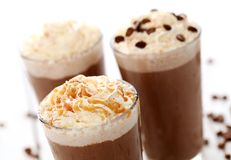 Ice coffee with whipped cream Royalty Free Stock Photography