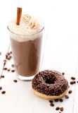 Ice coffee with whipped cream and donut Stock Photo