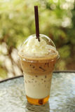 Ice coffee with whipping cream Royalty Free Stock Photos