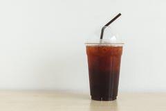 Ice Coffee on Wood Stock Photography
