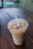 Ice coffee. On wood table Royalty Free Stock Photo