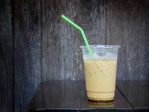 Ice coffee on wood table Stock Image