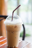 Ice coffee on wood table Royalty Free Stock Image