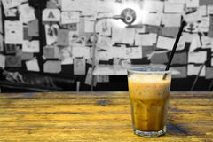 Ice coffee on wooden table Royalty Free Stock Image
