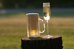 Ice Cold Beer and Champaign Royalty Free Stock Photos