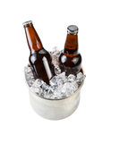 Ice Cold Beer in Stainless Steel Bucket Stock Photography