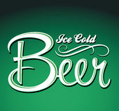 Ice cold beer vector - lettering - sign Stock Photo