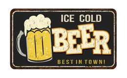 Ice cold beer vintage rusty metal sign Stock Photography