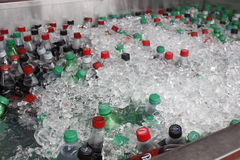Soda drinks covered in ice. Cooled mass of soda bottles covered by pile of ice cubes Royalty Free Stock Photos