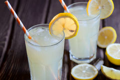 Ice cold citrus lemonade on natural background Stock Images