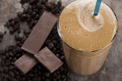 Ice cold coffe greek speciality frape. Close up Royalty Free Stock Photos