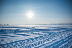 Ice cold desert sun and winter's day in Siberia Royalty Free Stock Images