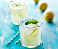 Ice cold fresh lemonade in glass Royalty Free Stock Image