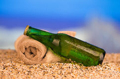 Ice cold green unlabelled bottle of beer in the Stock Photography