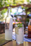 Ice cold lemonade served with mint leaves Stock Photo