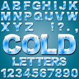 Ice Cold Letters. An Alphabet Set of Cold Letters and Numbers with Snow and Ice vector illustration