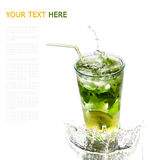 Ice cold Mojito spray, water droplets Royalty Free Stock Images