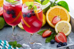 Ice cold red sangria with citrus fruits Stock Photography