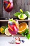 Ice cold red sangria with citrus fruits Stock Photo